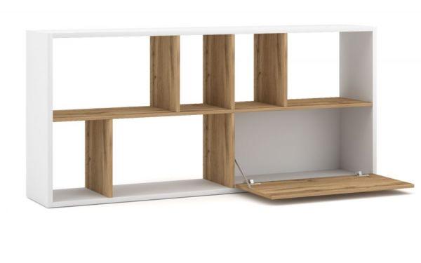 TV-Lowboard oder Regal Shuttle weiß und Artisan Eiche stehend oder liegend TV-Board mit Komforthöhe / Bücherregal