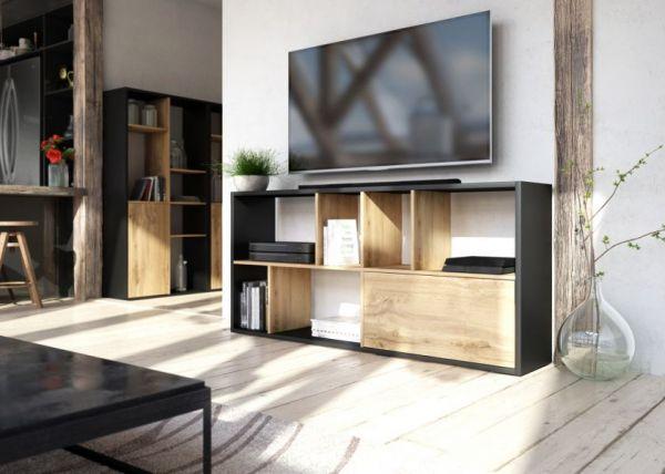 TV-Lowboard oder Regal Shuttle schwarz und Artisan Eiche stehend oder liegend TV-Board mit Komforthöhe / Bücherregal
