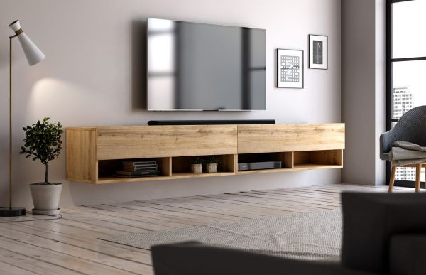 """TV Lowboard """"Epsom"""" in Wotan Eiche hängend 200 x 30 cm"""