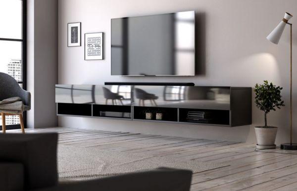 """TV Lowboard """"Epsom"""" in schwarz Hochglanz hängend 200 x 30 cm"""
