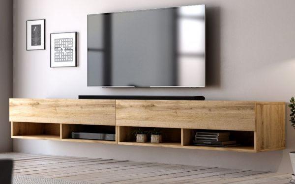 """TV Lowboard """"Epsom"""" in Wotan Eiche hängend 280 x 30 cm"""