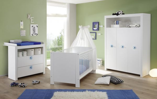 Babyzimmer Olivia in weiß und blau komplett Set 3-teilig mit Wickelkommode Kleiderschrank und Babybett