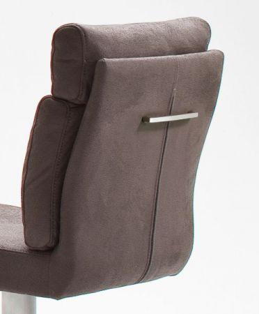 Barstuhl Rabea in grau Vintage Lederlook und Edelstahl gebürstet Barhocker mit Griff höhenverstellbar