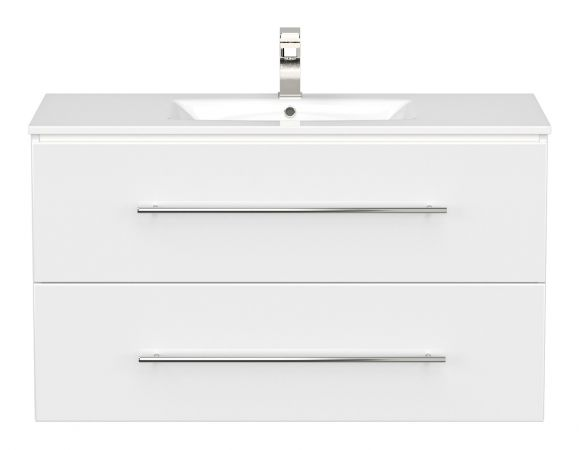 Waschbeckenunterschrank Homeline in Hochglanz weiß Waschtisch hängend inkl. Waschbecken 2-teilig 100 x 54 cm