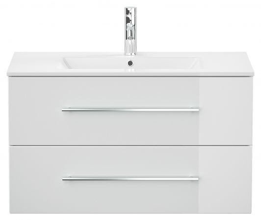 Waschbeckenunterschrank Homeline in Hochglanz weiß Waschtisch hängend inkl. Waschbecken 2-teilig 90 x 54 cm