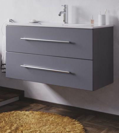 Waschbeckenunterschrank Homeline in anthrazit Seidenglanz Waschtisch hängend inkl. Waschbecken 2-teilig 90 x 54 cm