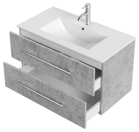 Waschbeckenunterschrank Homeline in Stone Design grau Waschtisch hängend inkl. Waschbecken 2-teilig 90 x 54 cm