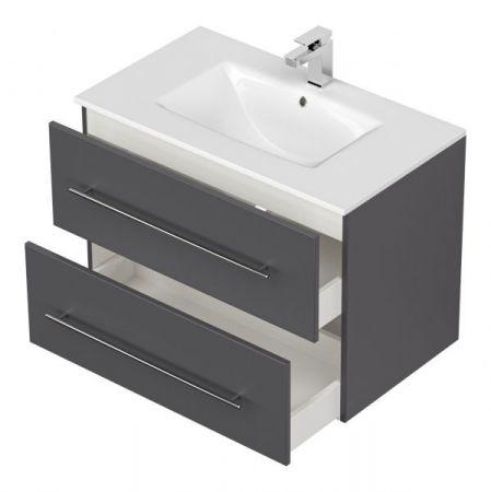 Waschbeckenunterschrank Homeline in anthrazit Seidenglanz Waschtisch hängend inkl. Waschbecken 2-teilig 80 x 54 cm