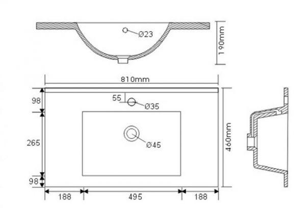 Waschbeckenunterschrank Homeline in Sonoma Eiche hell Waschtisch hängend inkl. Waschbecken 2-teilig 80 x 54 cm