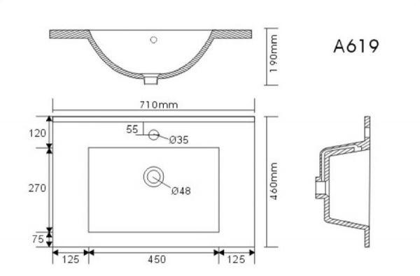 Waschbeckenunterschrank Homeline in Sonoma Eiche hell Waschtisch hängend inkl. Waschbecken 2-teilig 70 x 54 cm