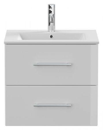 Waschbeckenunterschrank Homeline in Hochglanz weiß Waschtisch hängend inkl. Waschbecken 2-teilig 60 x 54 cm