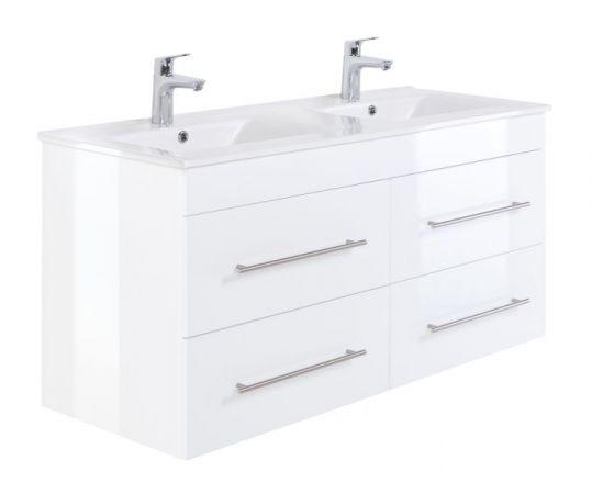 Doppelwaschtisch Homeline in Hochglanz weiß Waschtisch hängend inkl. Doppelwaschbecken 120 x 57 cm Badmöbel Set