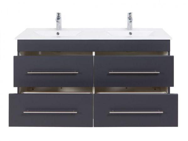 Doppelwaschtisch Homeline in anthrazit Seidenglanz Waschtisch hängend inkl. Doppelwaschbecken 120 x 57 cm Badmöbel Set