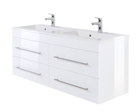 Doppelwaschtisch Homeline in Hochglanz weiß Waschtisch hängend inkl. Doppelwaschbecken 140 x 52 cm Badmöbel Set