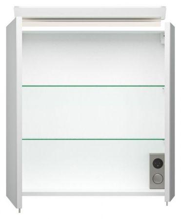 Badmöbel Set Homeline in Hochglanz weiß Badkombination 4-teilig inkl. Waschbecken und LED Beleuchtung 60 cm