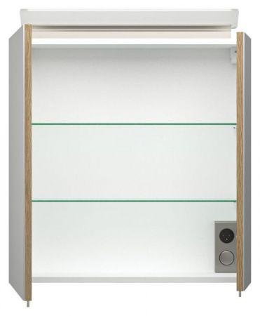 Badmöbel Set Homeline in Sonoma Eiche hell Badkombination 4-teilig inkl. Waschbecken und LED Beleuchtung 60 cm