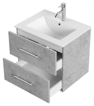 Badmöbel Set Homeline in Stone Design grau Badkombination 4-teilig inkl. Waschbecken und LED Beleuchtung 60 cm