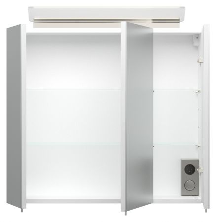 Badmöbel Set Homeline in Hochglanz weiß Badkombination 4-teilig inkl. Waschbecken und LED Beleuchtung 70 cm