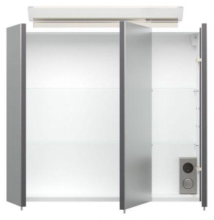 Badmöbel Set Homeline in anthrazit Seidenglanz Badkombination 4-teilig inkl. Waschbecken und LED Beleuchtung 70 cm