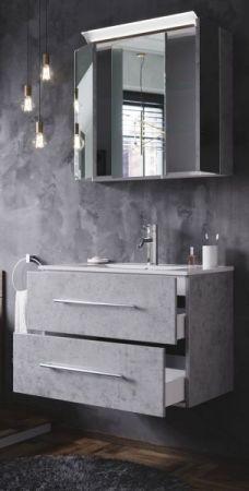 Badmöbel Set Homeline in Stone Design grau Badkombination 4-teilig inkl. Waschbecken und LED Beleuchtung 70 cm