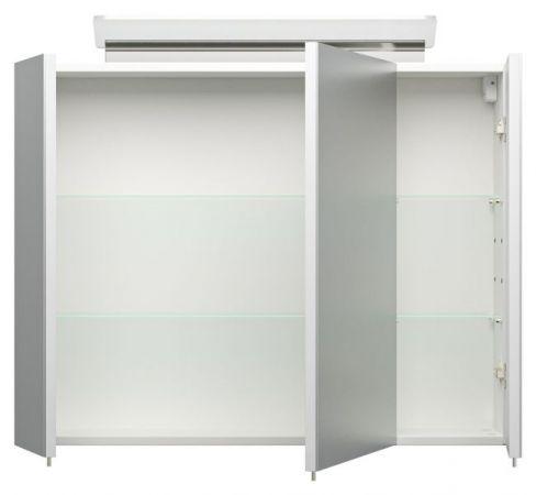 Badmöbel Set Homeline in Hochglanz weiß Badkombination 4-teilig inkl. Waschbecken und LED Beleuchtung 80 cm