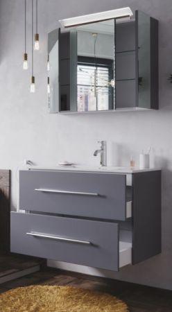 Badmöbel Set Homeline in anthrazit Seidenglanz Badkombination 4-teilig inkl. Waschbecken und LED Beleuchtung 80 cm