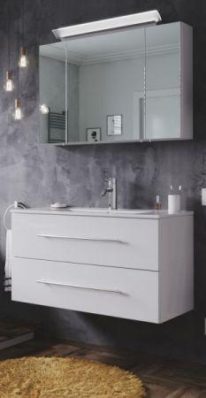 Badmöbel Set Homeline in Hochglanz weiß Badkombination 4-teilig inkl. Waschbecken und LED Beleuchtung 90 cm