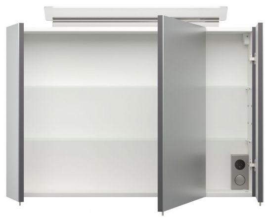 Badmöbel Set Homeline in anthrazit Seidenglanz Badkombination 4-teilig inkl. Waschbecken und LED Beleuchtung 90 cm