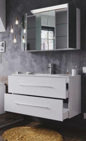 Badmöbel Set Homeline in Hochglanz weiß Badkombination 4-teilig inkl. Waschbecken und LED Beleuchtung 100 cm