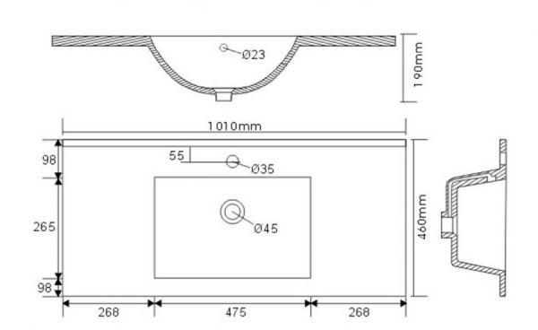 Badmöbel Set Homeline in Sonoma Eiche hell Badkombination 4-teilig inkl. Waschbecken und LED Beleuchtung 100 cm