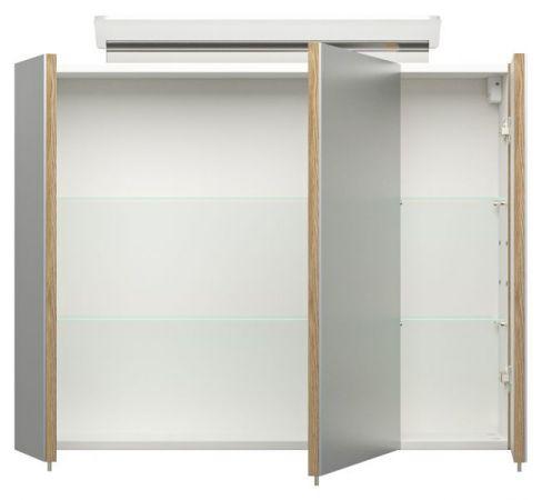 Badmöbel Set Homeline in Sonoma Eiche hell Badkombination 7-teilig inkl. Waschbecken und LED Beleuchtung 180 x 190 cm