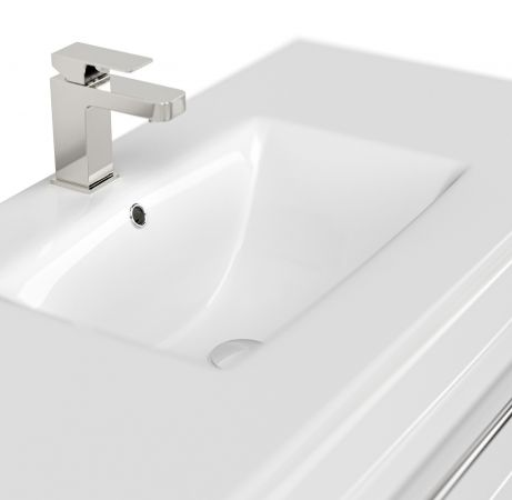 Badmöbel Set Homeline in Hochglanz weiß Badkombination 7-teilig inkl. Waschbecken und LED Beleuchtung 200 x 190 cm