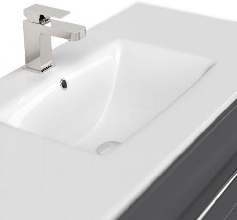 Badmöbel Set Homeline in anthrazit Seidenglanz Badkombination 7-teilig inkl. Waschbecken und LED Beleuchtung 200 x 190 cm