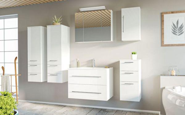 Badmöbel Set Homeline in Hochglanz weiß Badkombination 8-teilig inkl. Waschbecken und LED Beleuchtung 230 x 190 cm