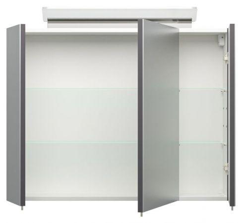 Badmöbel Set Homeline in anthrazit Seidenglanz Badkombination 8-teilig inkl. Waschbecken und LED Beleuchtung 230 x 190 cm