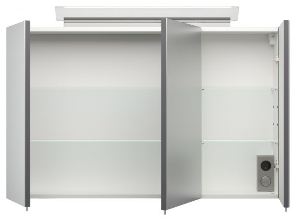 Badmöbel Set Homeline in anthrazit Seidenglanz Badkombination 8-teilig inkl. Waschbecken und LED Beleuchtung 250 x 190 cm