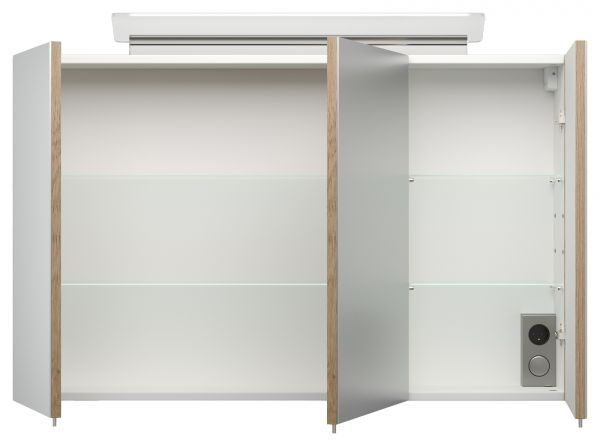 Badmöbel Set Homeline in Sonoma Eiche hell Badkombination 8-teilig inkl. Waschbecken und LED Beleuchtung 250 x 190 cm