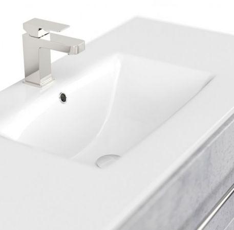 Badmöbel Set Homeline in Stone Design grau Badkombination 8-teilig inkl. Waschbecken und LED Beleuchtung 250 x 190 cm