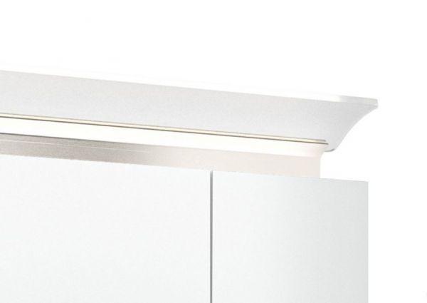 Badezimmer Spiegelschrank Homeline in Hochglanz weiß inklusive Design LED Spiegellampe 2-türig 60 x 62 cm