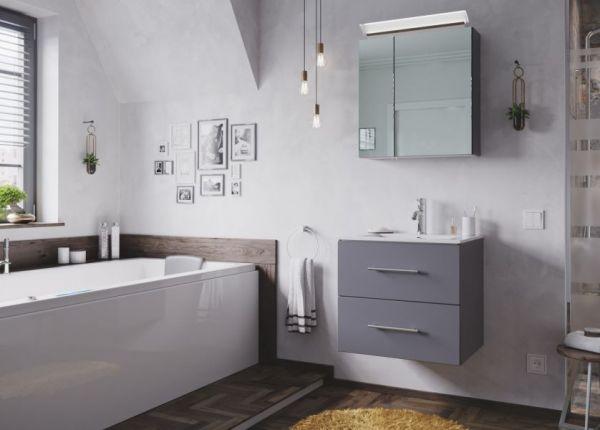 Badezimmer Spiegelschrank Homeline in anthrazit Seidenglanz inklusive Design LED Spiegellampe 2-türig 60 x 62 cm
