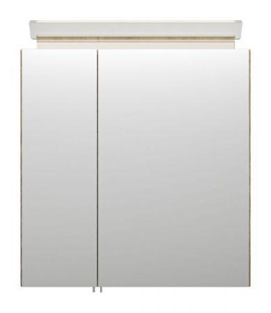 Badezimmer Spiegelschrank Homeline in Sonoma Eiche hell inklusive Design LED Spiegellampe 2-türig 60 x 62 cm