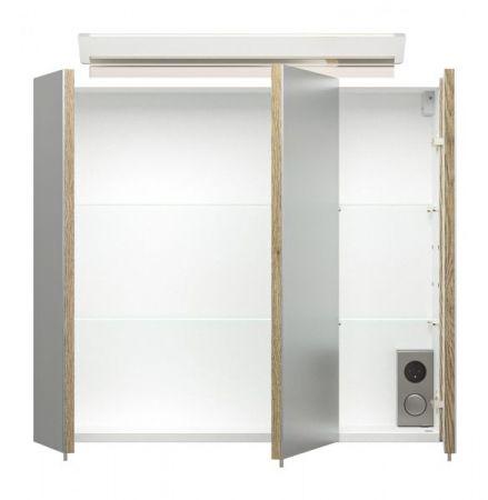 Badezimmer Spiegelschrank Homeline in Sonoma Eiche hell inklusive Design LED Spiegellampe 3-türig 70 x 62 cm