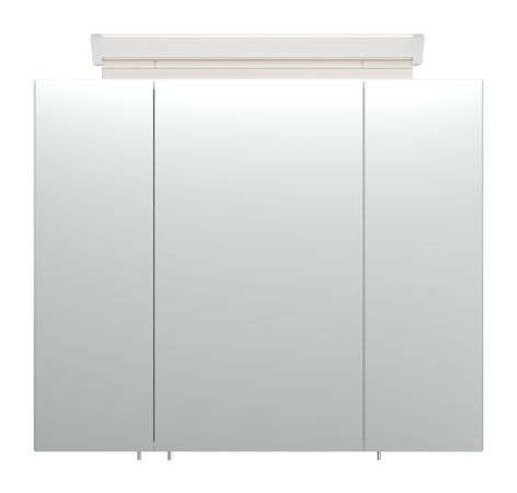 Badezimmer Spiegelschrank Homeline in Hochglanz weiß inklusive Design LED Spiegellampe 3-türig 75 x 62 cm
