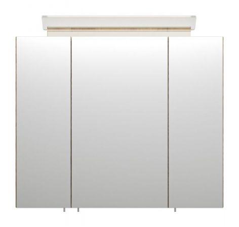 Badezimmer Spiegelschrank Homeline in Sonoma Eiche hell inklusive Design LED Spiegellampe 3-türig 75 x 62 cm