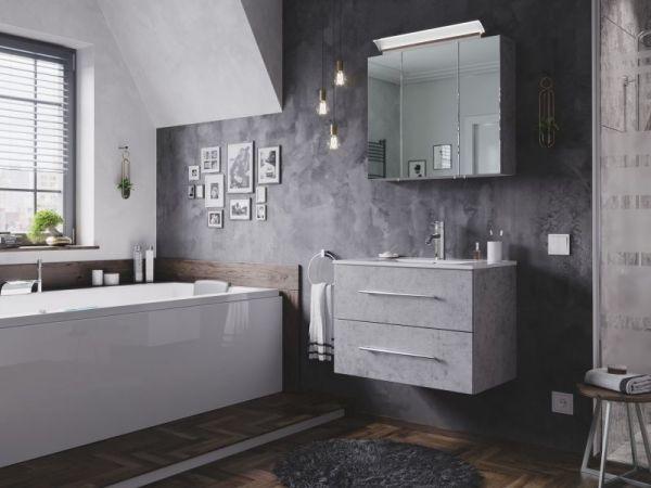 Badezimmer Spiegelschrank Homeline in Stone Design grau inklusive Design LED Spiegellampe 3-türig 75 x 62 cm