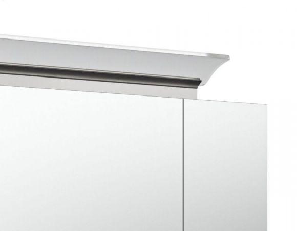 Badezimmer Spiegelschrank Homeline in Hochglanz weiß inklusive Design LED Spiegellampe 3-türig 80 x 62 cm