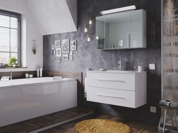 Badezimmer Spiegelschrank Homeline in Hochglanz weiß inklusive Design LED Spiegellampe 3-türig 90 x 62 cm