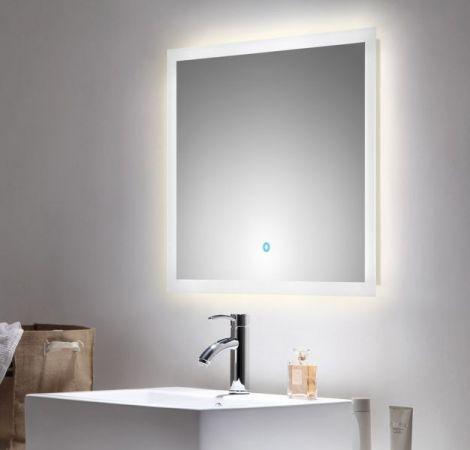 Badspiegel Homeline inkl. LED Beleuchtung mit Touch Bedienung Badezimmer Spiegel weiß 70 x 60 cm