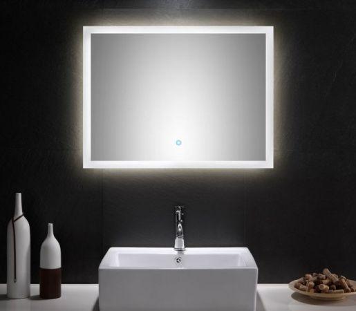 Badspiegel Homeline inkl. LED Beleuchtung mit Touch Bedienung Badezimmer Spiegel weiß 80 x 60 cm