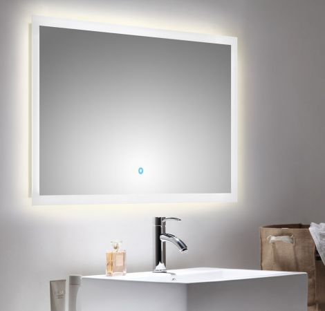 Badspiegel Homeline inkl. LED Beleuchtung mit Touch Bedienung Badezimmer Spiegel weiß 100 x 60 cm